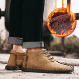2019 Winter Shoes Men Warm Boots Men Fur High Quality Split Leather Wterproof Ankle Snow Boots Lace-Up Comfortable New Big size