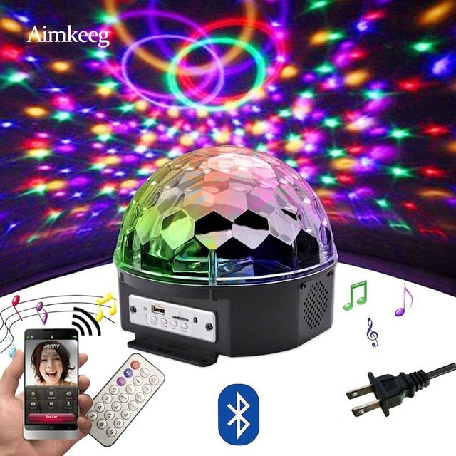 9 color LED Bluetooth Speaker Disco Ball Light with Mp3 Player Prom Laser Party Light 18W DJ Stage Light Laser Projection Lamp