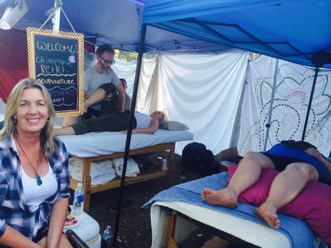 Healing Sanctuary, set up by Calistoga Wellness Center at the Calistoga Fairgrounds Valley Fire Refuge