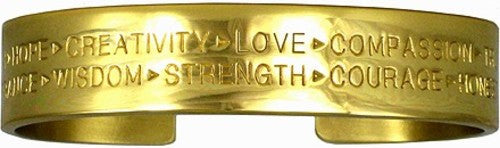 Gold Virtues Bracelet (Brass, Wide)