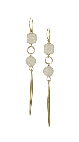 Kinship Druze Quartz & Porcupine Quill Earrings in Gold