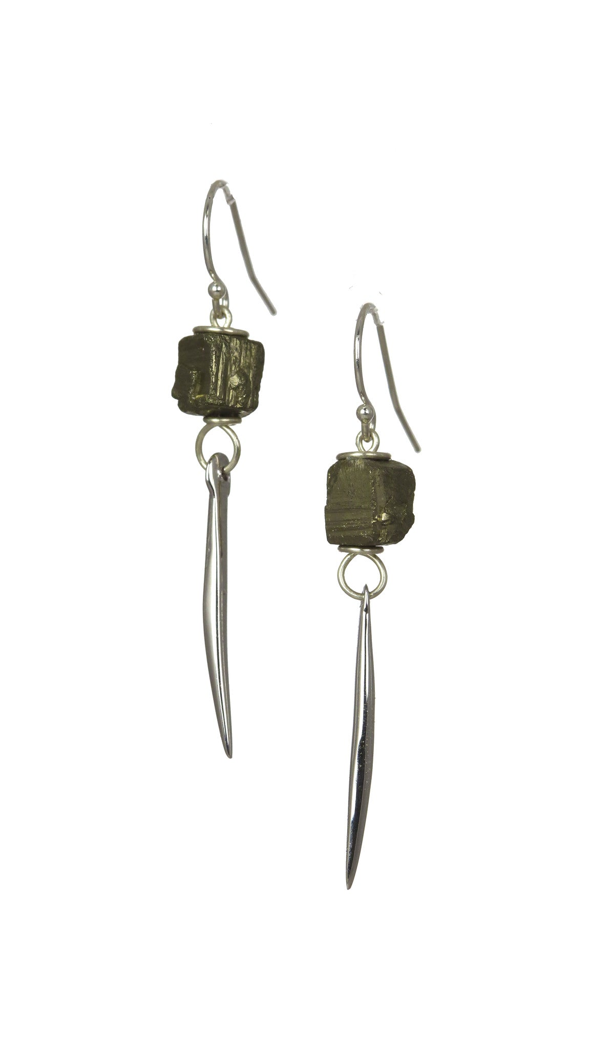 Pyrite Kinship Porcupine Quill Earrings in Sterling Silver (Small)