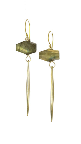 Kinship Labradorite Gold Porcupine Quill Earrings