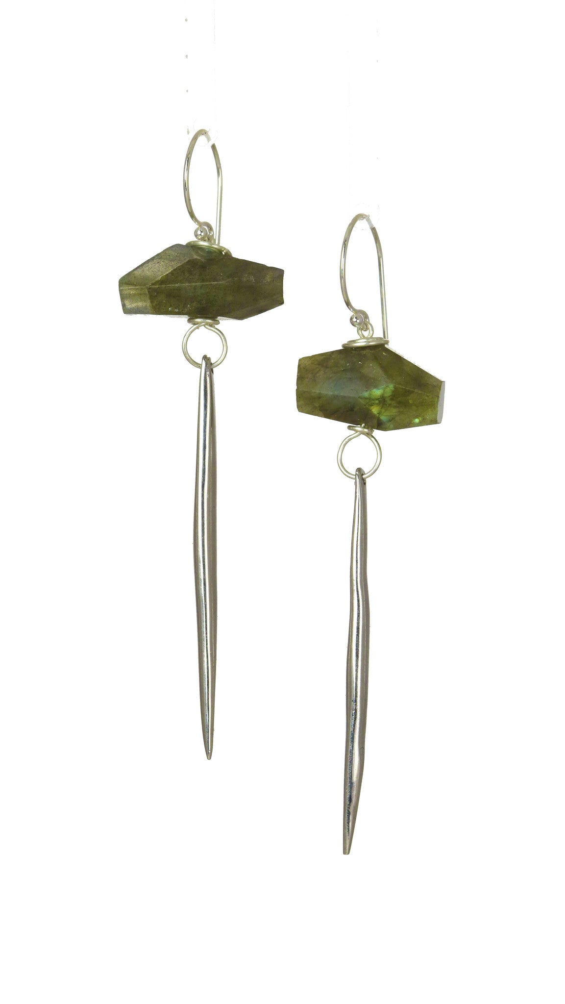 Labradorite Kinship Porcupine Quill Earrings in Sterling Silver