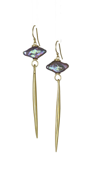 Kinship Black Pearl Porcupine Quill Earrings in Gold