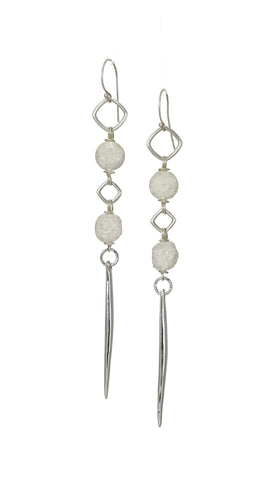 Kinship Druze Quartz & Porcupine Quill Long Earrings in Sterling
