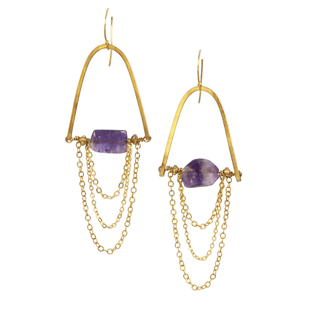 Amethyst MoonRise- Gold Brass Chain Earrings