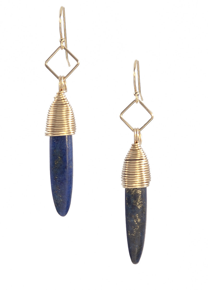 Lapis Lazuli Kin Earrings, Gold Fill