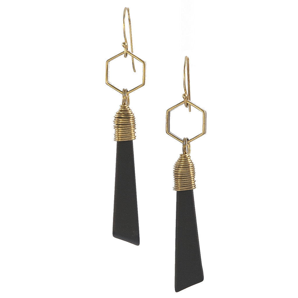 Stonehenge Black Onyx Gold Kin Earrings