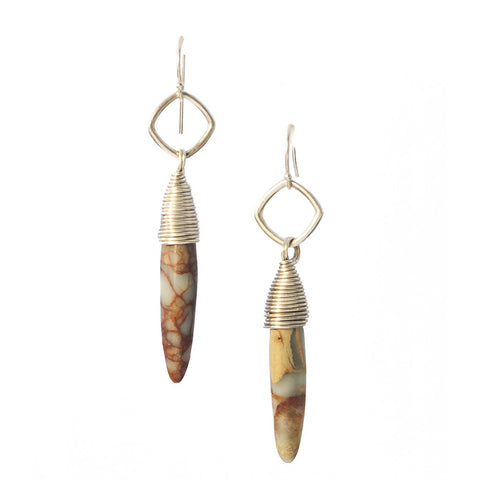 African Opal Kin Earrings Available in Gold, Silver, Brass & Gold Fill
