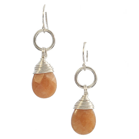 Carnelian Kin Earrings in Sterling Silver - {Faceted}