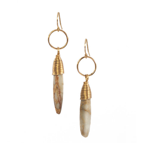African Opal Kin Earrings in Gold