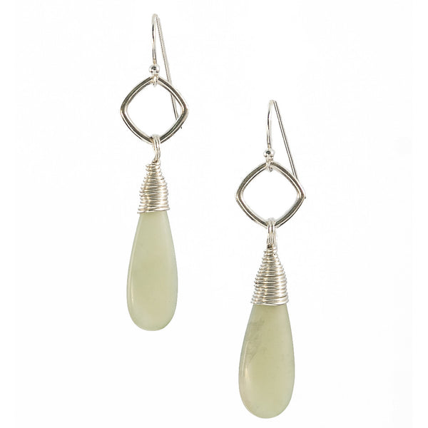 Jade Kin Earrings in Silver - {Tear Drop}