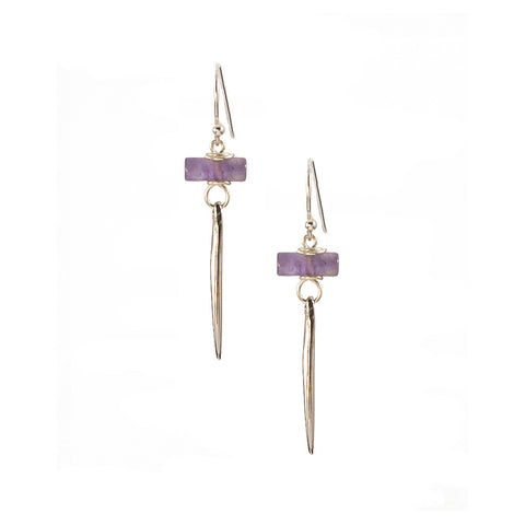 Amethyst Kinship Earrings with Small Porcupine Quill in Sterling Silver