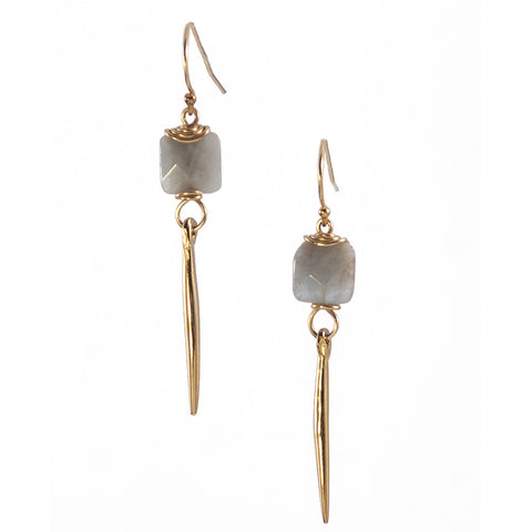 Aquamarine Kinship Earrings with Small Porcupine Quill in Gold