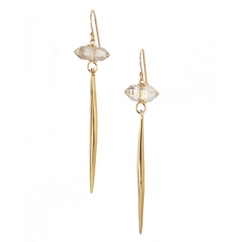 Herkimer Diamond Gold Kinship Earrings with Long Porcupine Quill