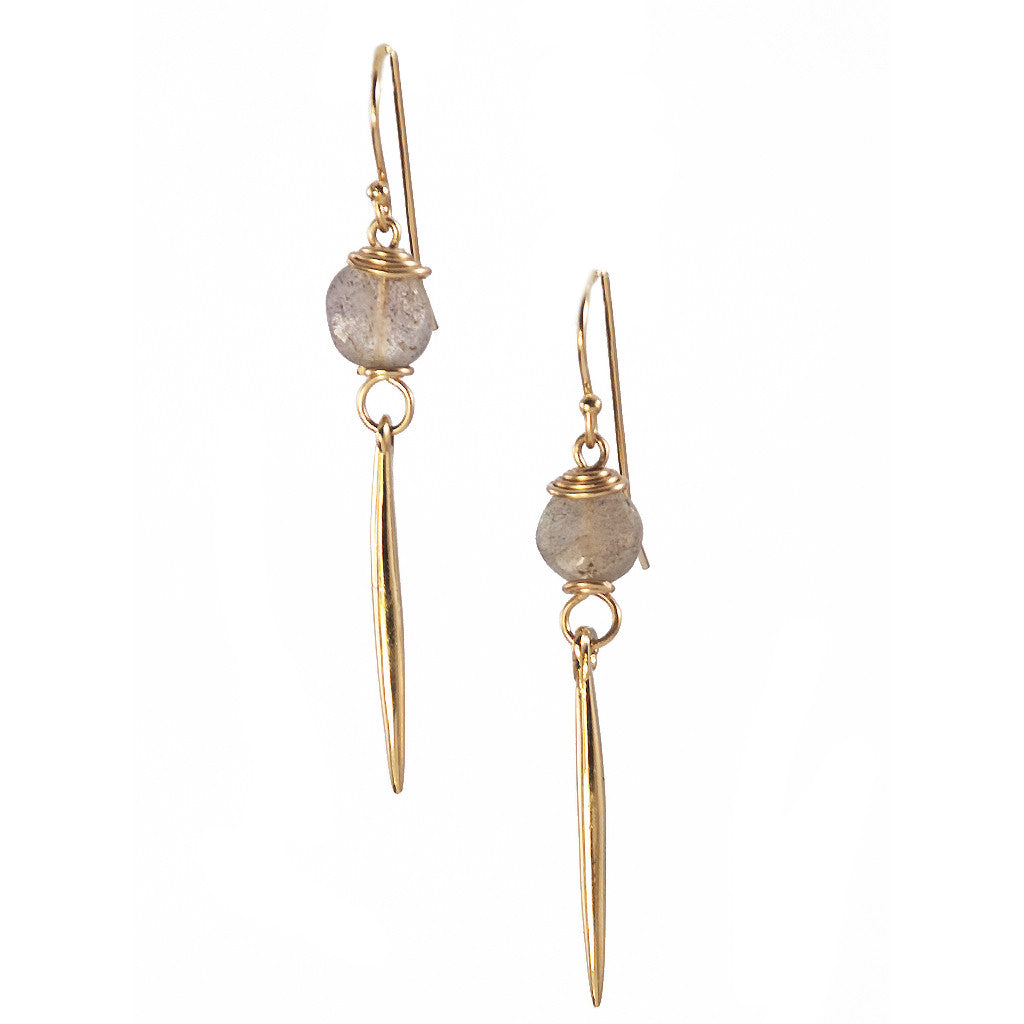 Labradorite Kinship Earrings with Small Porcupine Quill in Gold