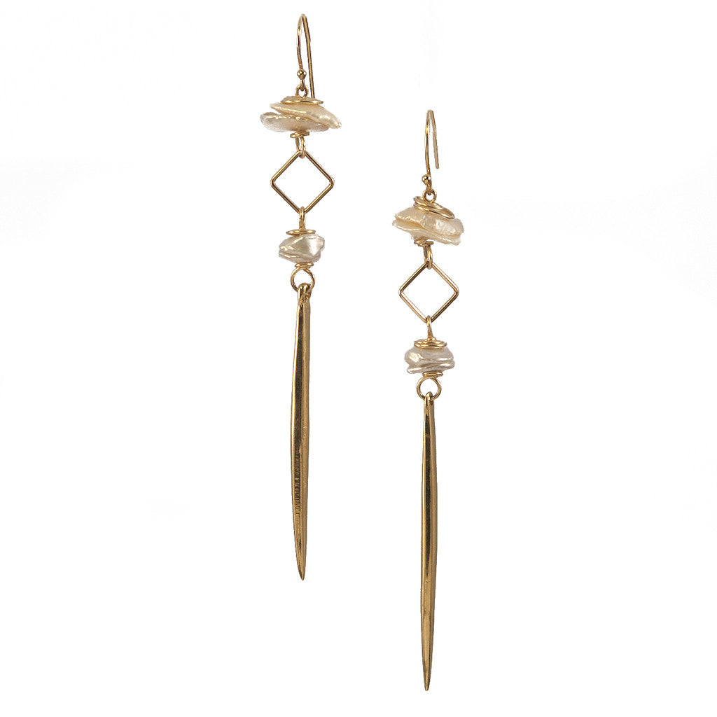 White Pearl Kinship Earrings with Long Porcupine Quill in Gold