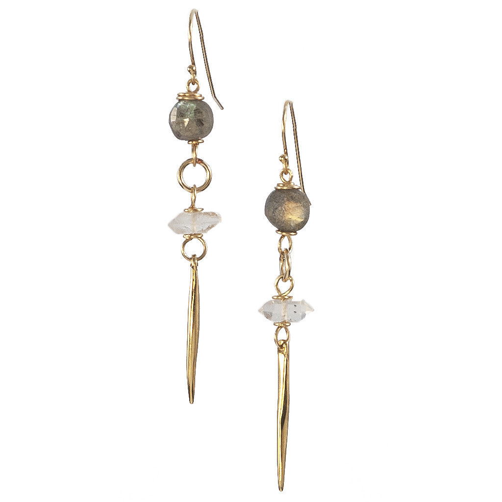 Seraphim Kinship Earrings with Labradorite, Herkimer Diamond & Small Porcupine Quill in Gold