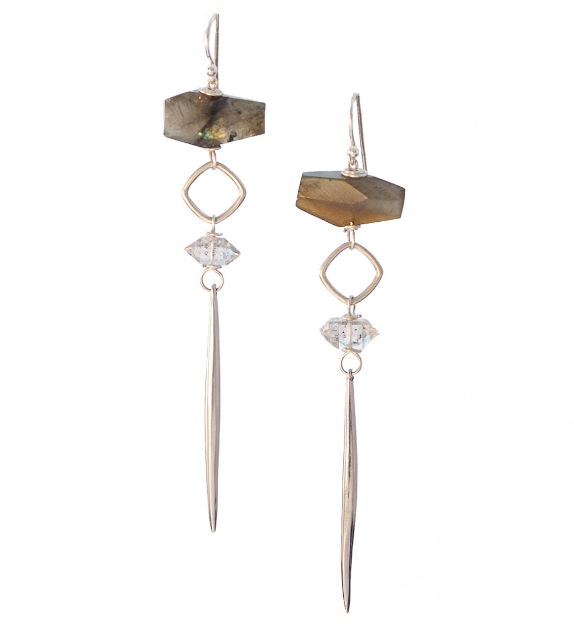 Seraphim Kinship Earrings with Labradorite, Herkimer Diamond & Long Porcupine Quill in Gold