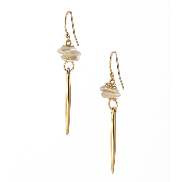 White Pearl Kinship Earrings with Small Porcupine Quill in Gold