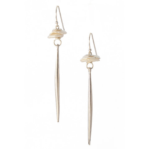 White Pearl Kinship Earrings with Long Porcupine Quill in Sterling Silver