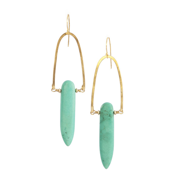 Turquoise Rise Earrings in Gold & Brass