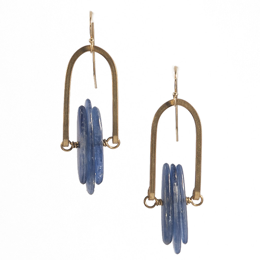 Kya Triad Rise Earrings with Blue Kyanite in Gold & Brass