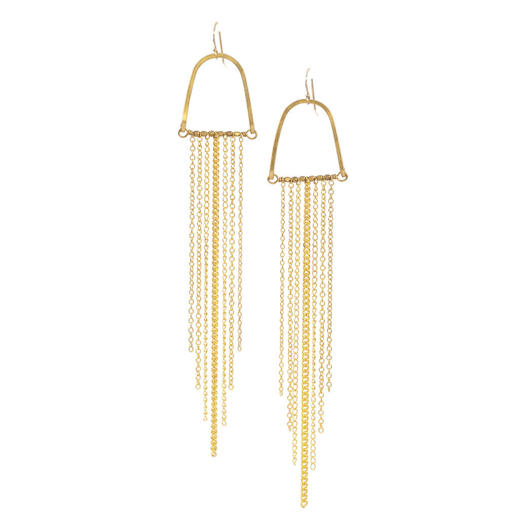 SunRays Gold Chain Earrings