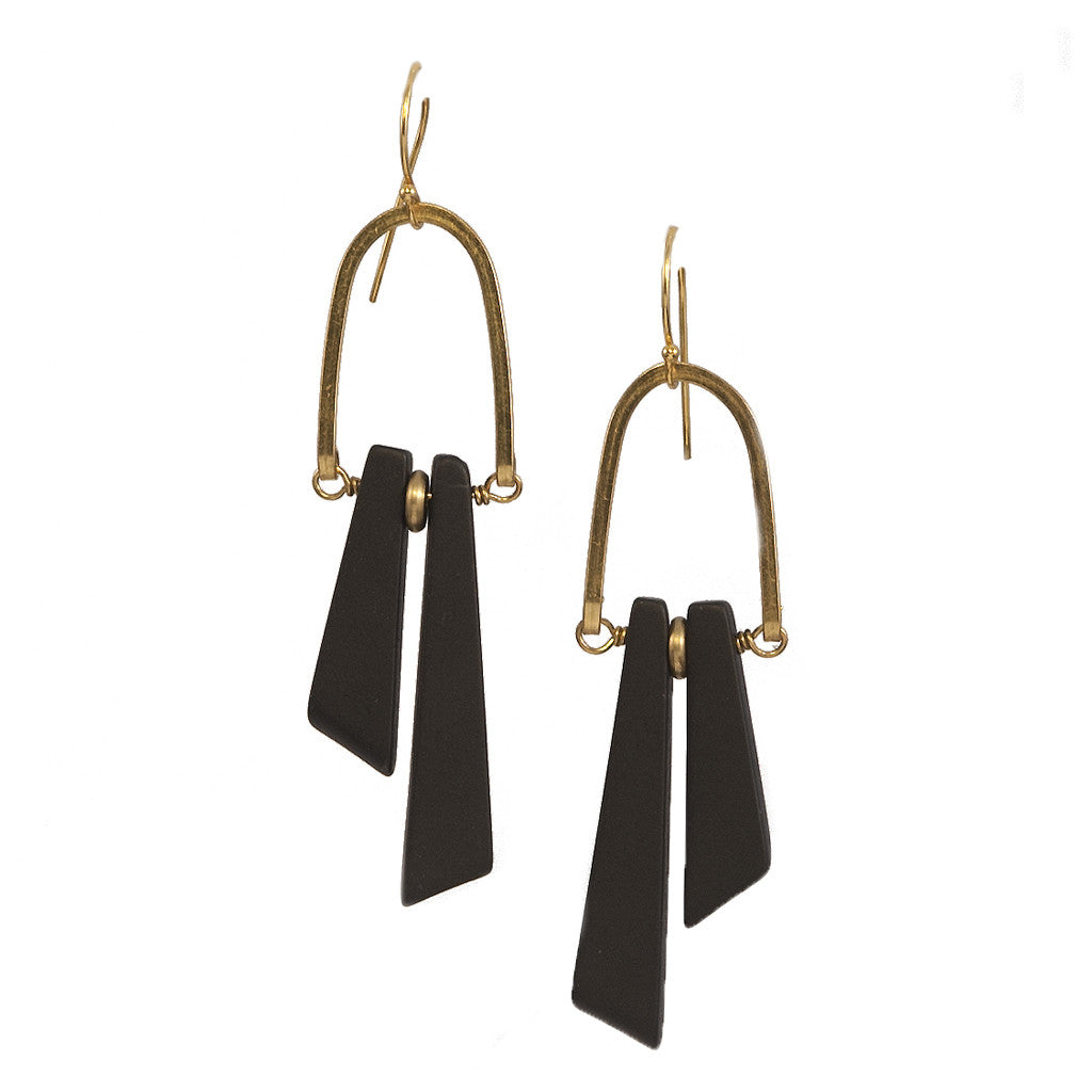 Stonehenge Rise Earrings with Black Onyx in Gold & Brass