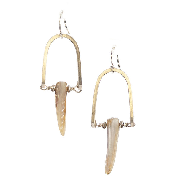 Mother of Pearl Rise Earrings in Sterling Silver