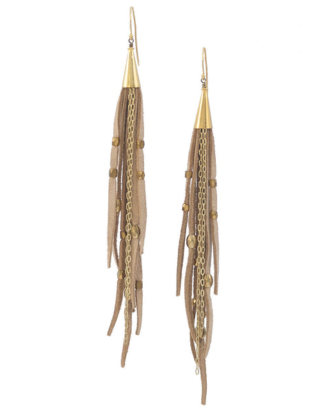 Te Cuero Beige Leather Fringe Earrings