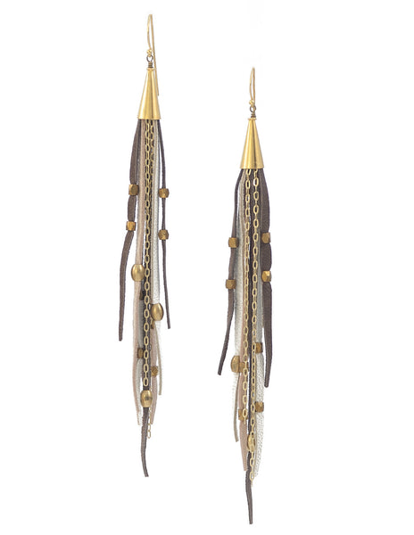 Te Cuero Beja Leather Fringe Earrings