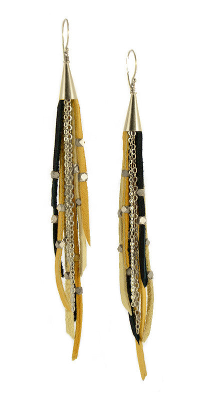 Te Cuero Bumble Leather Fringe Earrings