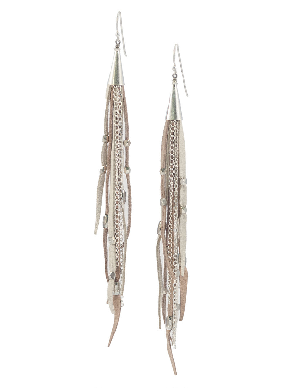 Te Cuero Cloud Leather Fringe Earrings