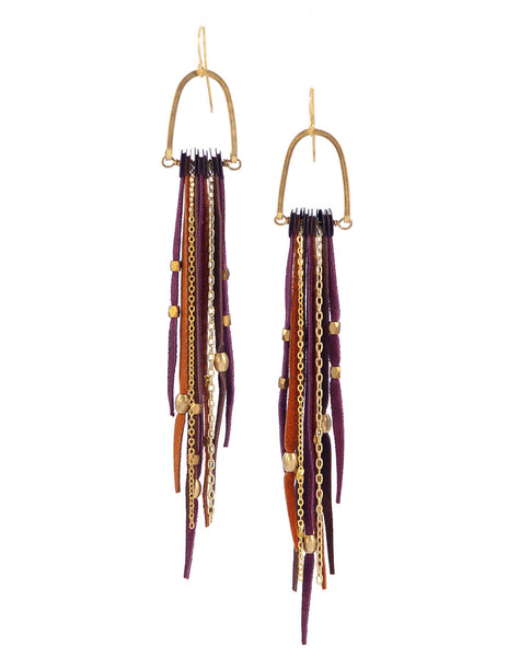 Te Cuero Merlot Leather Fringe Earrings