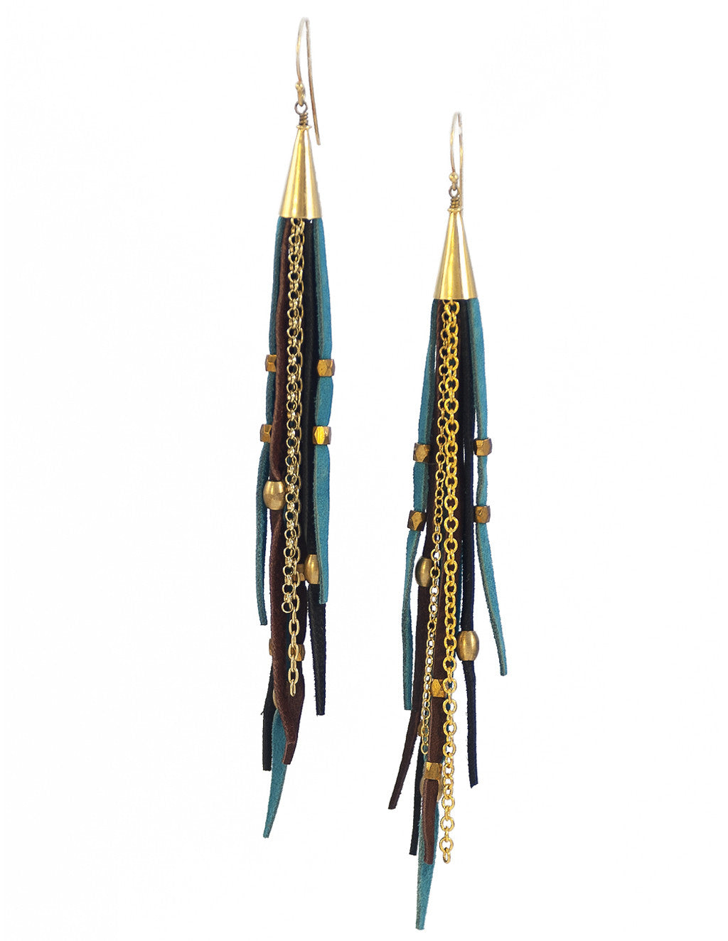Te Cuero Monique Leather Fringe Earrings