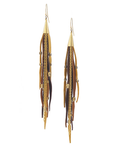 Te Cuero Nectar Leather Fringe Earrings