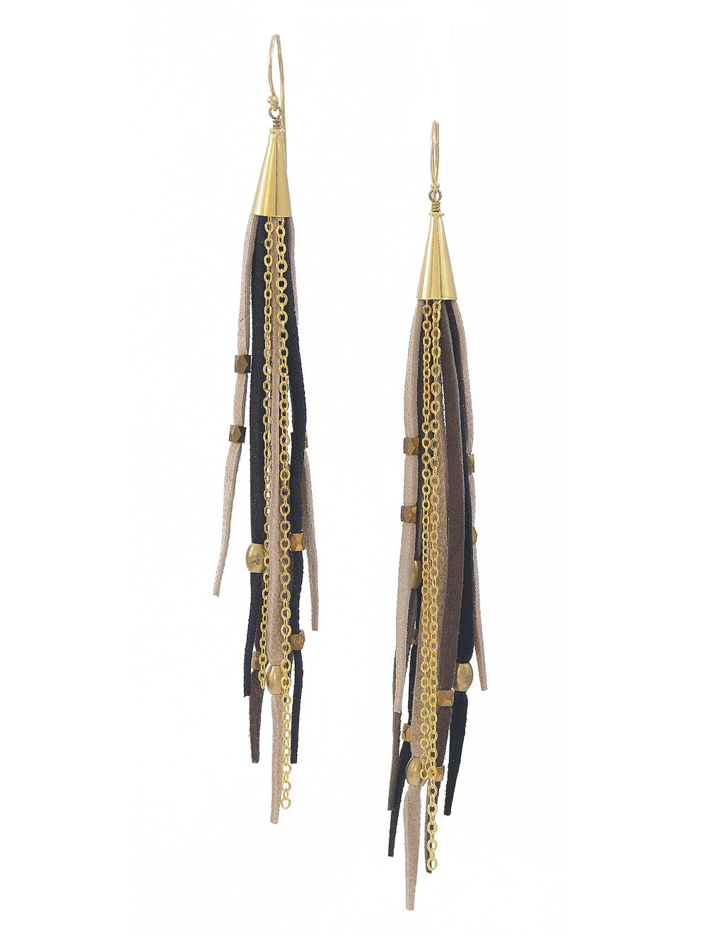 Te Cuero Night Leather Fringe Earrings