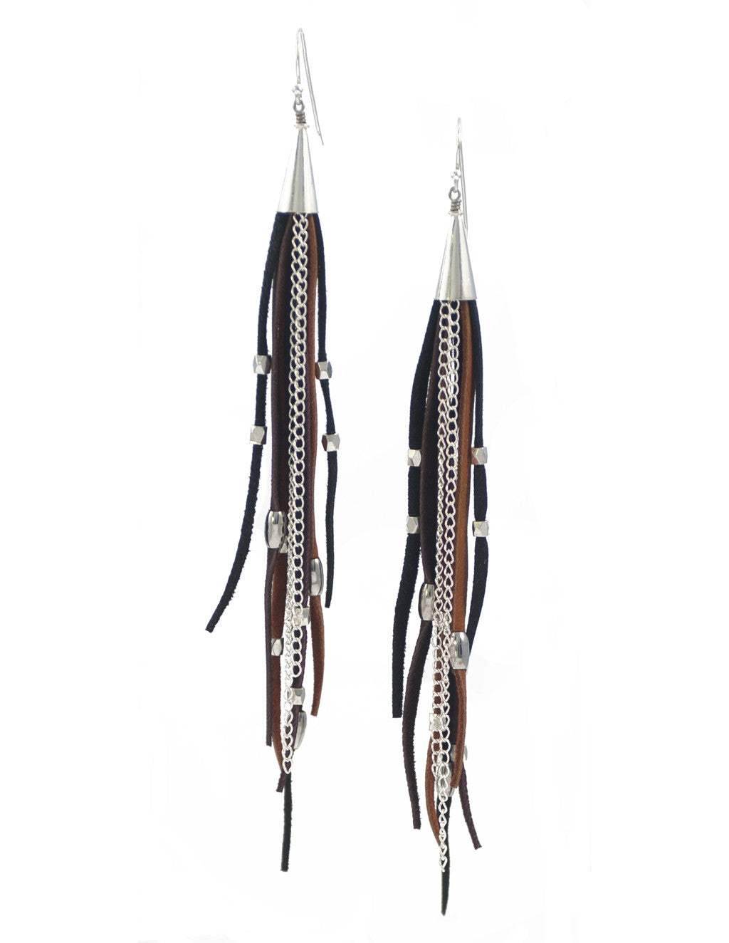 Te Cuero Pantera Leather Fringe Earrings