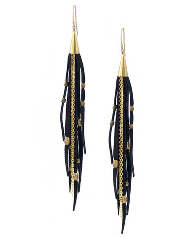 Te Cuero Queen Leather Fringe Earrings