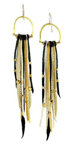 Te Cuero Rhonda Leather Fringe Earrings
