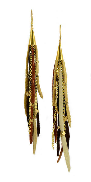 Te Cuero Tiera Leather Fringe Earrings