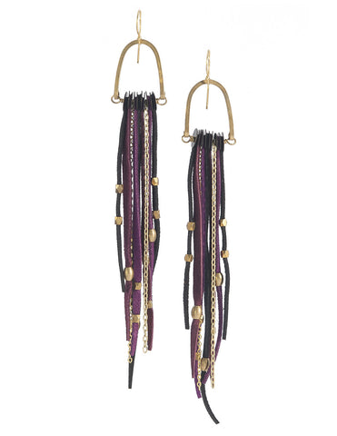 Te Cuero Yum Leather Fringe Earrings