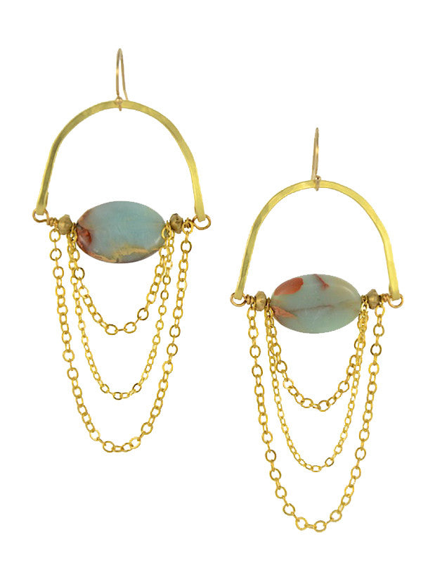 African Opal Stone Gold Brass MoonRise Earrings