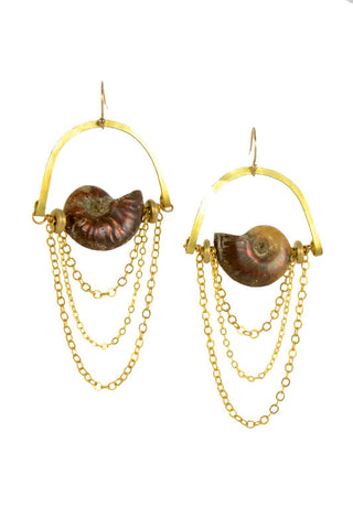 Ammonite Fossil Gold Brass MoonRise Earrings