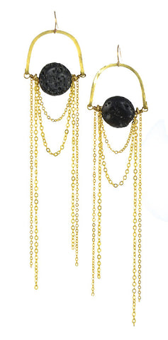 Black Lava Stone Gold Brass Earrings