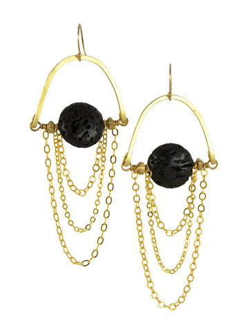 Black Lava Stone Gold Brass MoonRise Earrings