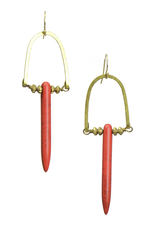 Coyote Magnesite Spear Earrings