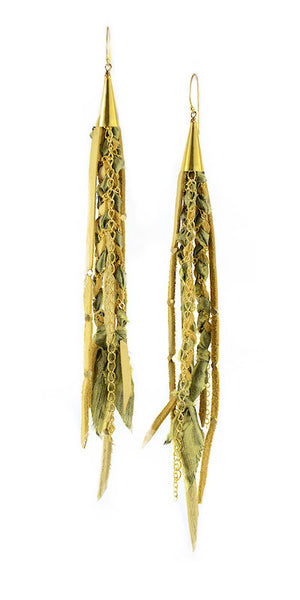Green and Beige Recycled Indian Silk Saree and Leather with Gold Vermeil Handmade Medium Long Cone Earrings